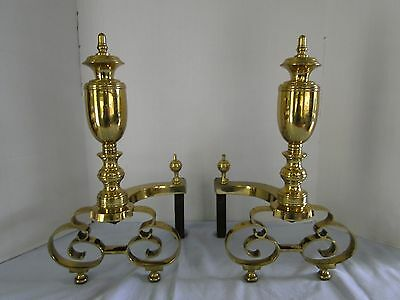 Antique American Brass Andirons signed Wm H. Jackson NY 1908 2