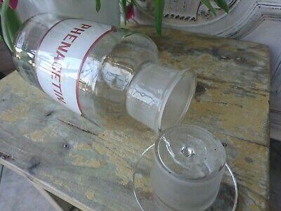 Apotheker antik Glas Flasche Apothekerflasche Etikett gemalt super als Vase 6