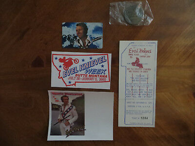 "1974 ""original""  Evel Knievel Snake River Canyon Ticket With Cool Extras!!!"