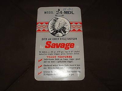 VINTAGE ORIGINAL SAVAGE Model 24-Mdl Advertisement Sale Card!  22 Wmr Over  Under