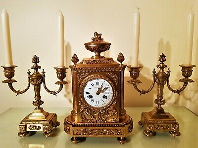 19Th Century French Ormolu Bronze Mantel Clock Garniture. 3