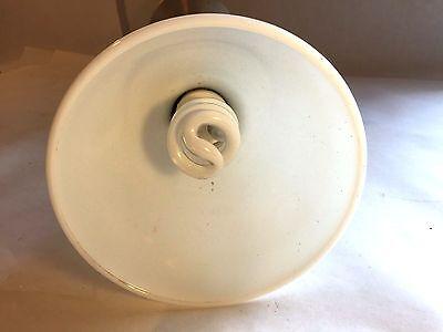Vtg Stunning Metal MCM Table Lamp Light Panton Era w Milk Glass Shade Atomic WOW 9