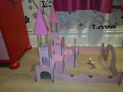 Chad Valley Pink Wooden Fantasy Castle With Wooden Figures Girls Toy Princess