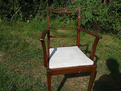 single wooden framed chair, with upholstered seat 2
