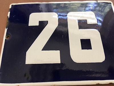 ANTIQUE VINTAGE ENAMEL SIGN HOUSE NUMBER 26 BLUE DOOR GATE STREET SIGN 1950's