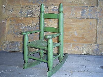Antique Ladder Back Child's Toy Woven Splint Seat Wood Rocking Chair Old Paint 3