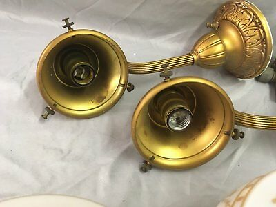 Antique Brass Victorian Sconce Pair Gold Guild Stenciled Glass Globes Vtg 33-18E 7