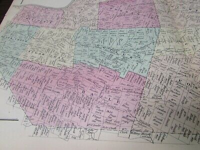 Antique - Warrant Map Southern Part Of Luzerne County Pa  - 1873 - Original 3
