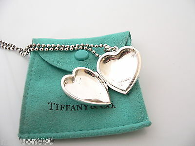 f0282a58c ... Tiffany & Co Silver Large Heart Locket Necklace Pendant 34 In Bead Chain  Pouch 3
