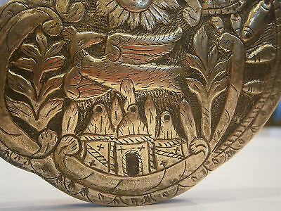 ANTIQUE OLD UNIQUE FOLKLORE SILVER BELT CLASP BUCKLE 19'c - Church /Bird /Sun 4