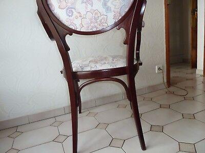 5 Sur 9 1 Paire De 2 Fauteuils Ou Chaises Avec Accoudoir Art Nouveau Ancien En Bois