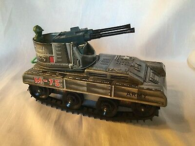 Spielzeug 75 Vintage Tin Toy Japan Boxed Okuma Anti Aircraft Tank M