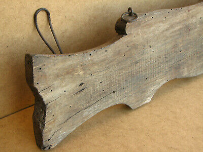 Old Antique Primitive Wooden Wood Rack Wall Hanger Door Hooks Shelf Marked 1934 6