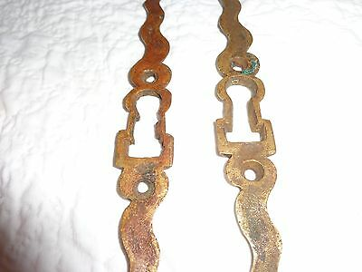 Rare Pair of 19th.c Solid Brass Serpentine Key Escutcheons 6