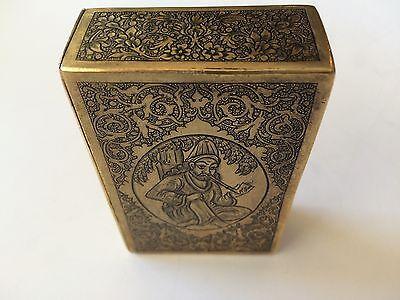 Classic Cigarette Box - 19th Ct. Persian Qajar - Signature Brass Engraved Design 8