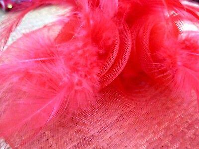 """hot fashion"" ladies red feathered fascinator 4"
