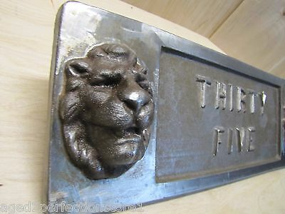 Old Double Lions Head Architectural Building Number 'Thirty Five' Marker Sign 10