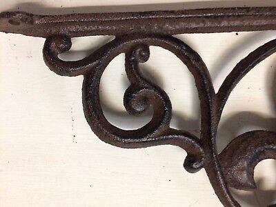 SET OF 4 FLEUR DE LIS SHELF BRACKET BRACE, Antique Brown Finish cast iron 8