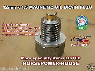 Magnetic 12mm x 1.5P Oil Drain Plug Bolt UniversalMount Metric M12