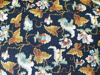 Vintage Elizabeth Bradley Persian embroidery tapestry footstool wood feet 4