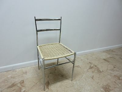 Vintage Mid Century Chrome Italian Ladder Back Dining Side Desk Chair 2