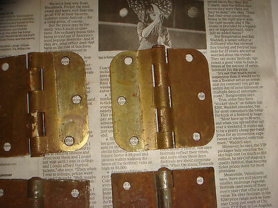 "4 Vintage Brass Plated Button Hinges 3 & 1/2"" , 2 pairs, Very Nice Old Hardware 5"