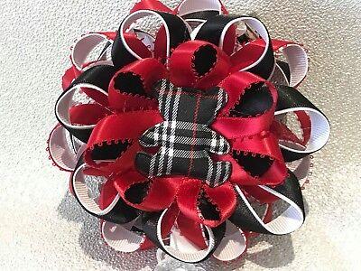 Red//black teddy bear tartan Romany satin ribbon handmade stroller pram charm