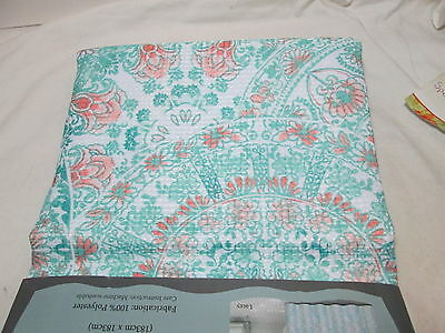 6 Of 7 New Indigo Rose LACEY Fabric Shower Curtain 72X72 Coral Green Medallion
