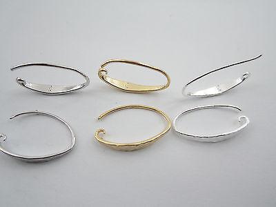 1 paio monachelle per orecchini in argento 925 con piattina martellata 2