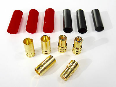 2 Paar 4 Stück 6mm 6,0mm Goldstecker Stecker Buchse Lipo Schrumpfschlauch