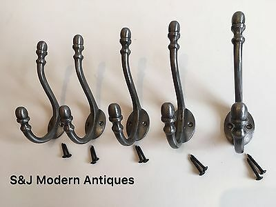Double Coat Hook Iron Antique Modern Vintage Black Grey Hat Rack Acorn Old Set 5 12