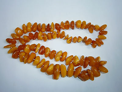 ANTIQUE 72g 羅的海琥珀 BEADS NECKLACE REAL AMBER BUTTERSCOTCH EGG YOLK BALTIC NATURAL 8