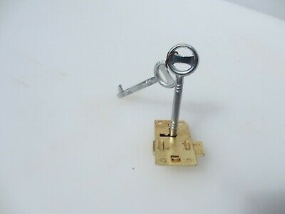 Gold Metal Cabinet Lock Cupboard Chest Drawer Bolt 2 Key Iron NEW / REPRO 8