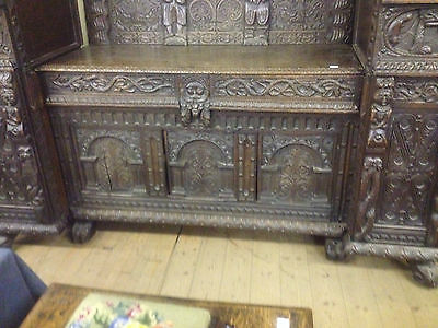 Very fine 17th century flemish carved solid oak gothic sideboard dresser cabinet