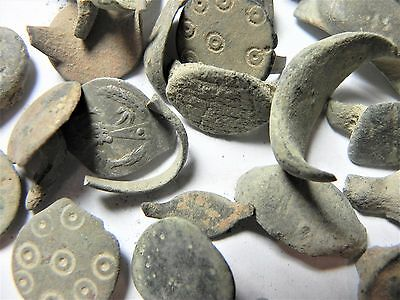 Zurqieh - Ancient Holy Land , Group Of 35 Ancient Bronze Rings- All Broken 4