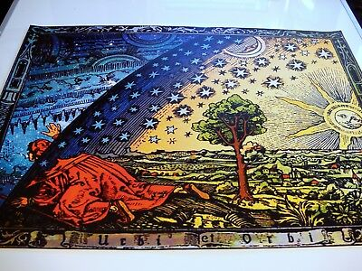 FLAMMARION ENGRAVING 1888: Psychedelic Flat Earth Poster Print of Firmament Dome 2