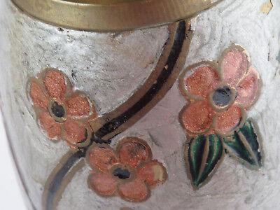 Antique Brass Cloisonne Champleve Enamel Owl Vase Trumpet Top Beautiful Birds R 3