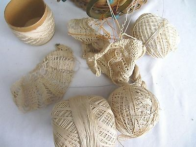 Antique Woven Wicker Reed Round Hanging Sewing Basket~Glass Bead Tassels~Vintage 7