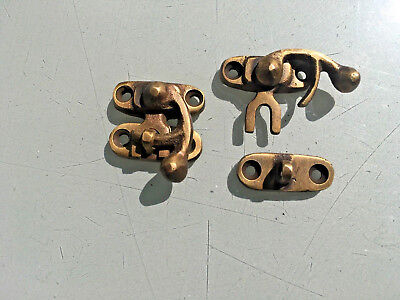 4 Nice tiny small box Latch catch solid brass furniture antiques doors trinket 3