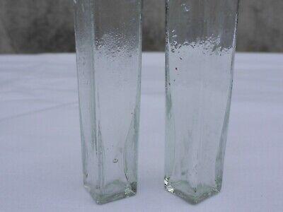 2 x alte kleine Medizin Glas Apotheke Apotheker Flasche grün lang ca. 9,5 cm 7