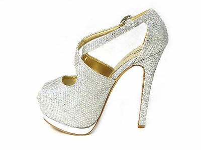 cf2d3aeb688ab ... Donna Diamante Scarpe Eleganti Donna Dressy Punta Aperta Tacchi Sposa  Matrimonio 7