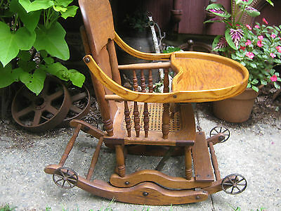 Primitive Antique Wicker Baby High Chair Rocker Stroller Cast Iron Toy Wheels 5