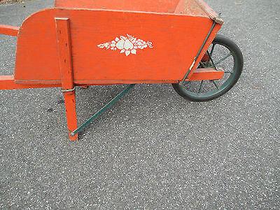 orange WOOD wheelbarrow  HORTICULTURIST original  VINTAGE - 1900's  WHEEL BARROW 7