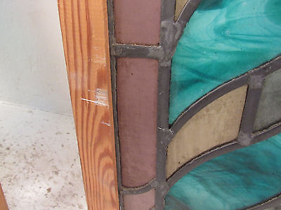 Pair of Antique Vintage Stained Glass Hanging Windows (1365)NJ 4