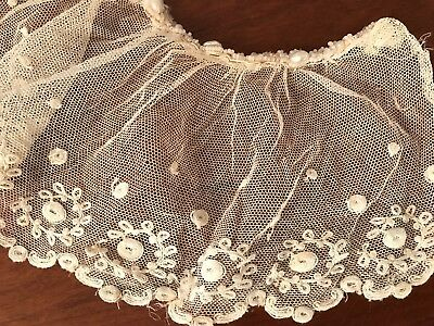 Antique  Large Tulle Lace Dress Jacket Collar Flounce Bead & Pearl Trim 2