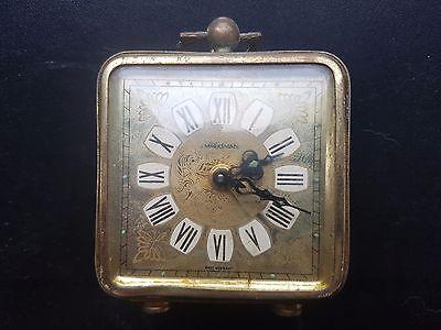 ANTIQUE  Marksman  Brass Carved Alarm Clock  West Germany 6