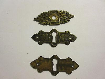 3 Antique Victorian Brass Hardware Drawer pulls Handles key escutcheon B 5