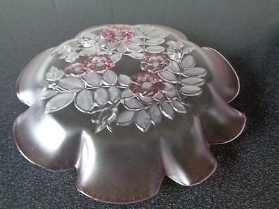 Large pink frosted glass plate with floral and leaf design in base very pretty 4