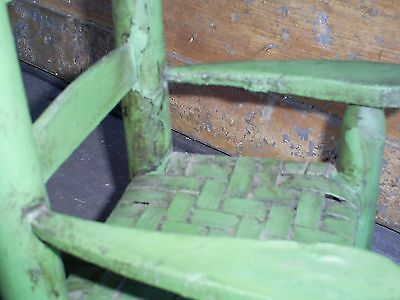 Antique Ladder Back Child's Toy Woven Splint Seat Wood Rocking Chair Old Paint 11