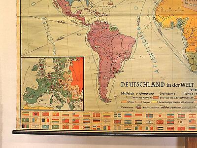 Schulwandkarte schöne alte Erde Weltkarte Deutschland 234x157c vintage map ~1955 6